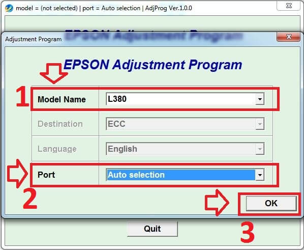 Epson-L380-resetter-step-three-Select-Model-Name-and-Port