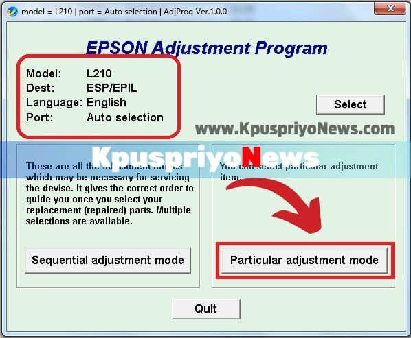 Epson L210 Resetter - Step four