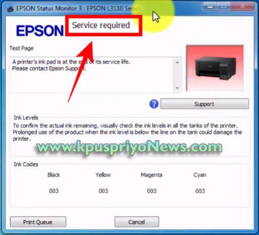 Epson L3115, L3116 Resetter - service required problem