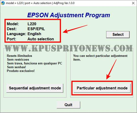 Epson L220 Resetter - Click on Particular adjustment mode Button