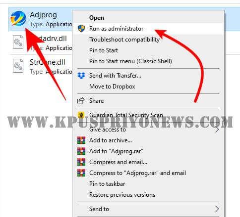 """Epson L220 Resetter - Open """"Adjprog"""" file"""