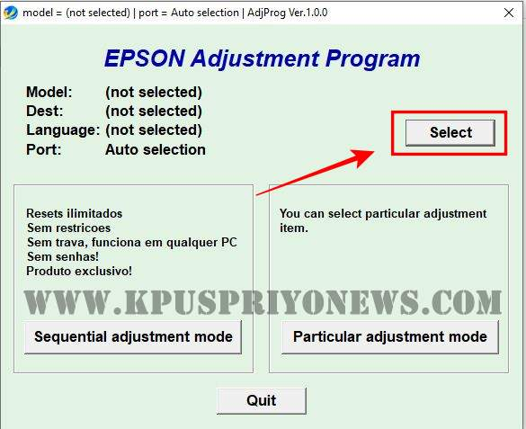 Epson L220 Resetter - Click on Select Button