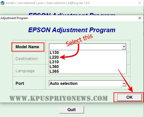 Epson L220 Resetter - Select Printer Model Name from Menu List