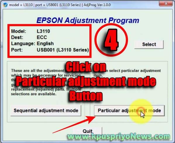 Epson L3115, L3116 Resetter - step four