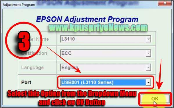 Epson L3110 Resetter - Step three
