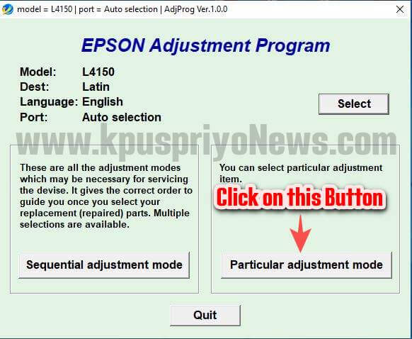 Epson L4150 L4160 Resetter - Step Four