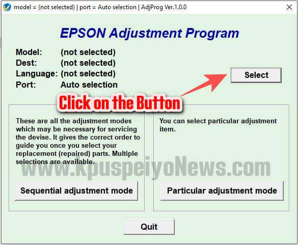Epson L4150 L4160 Resetter - Step Two